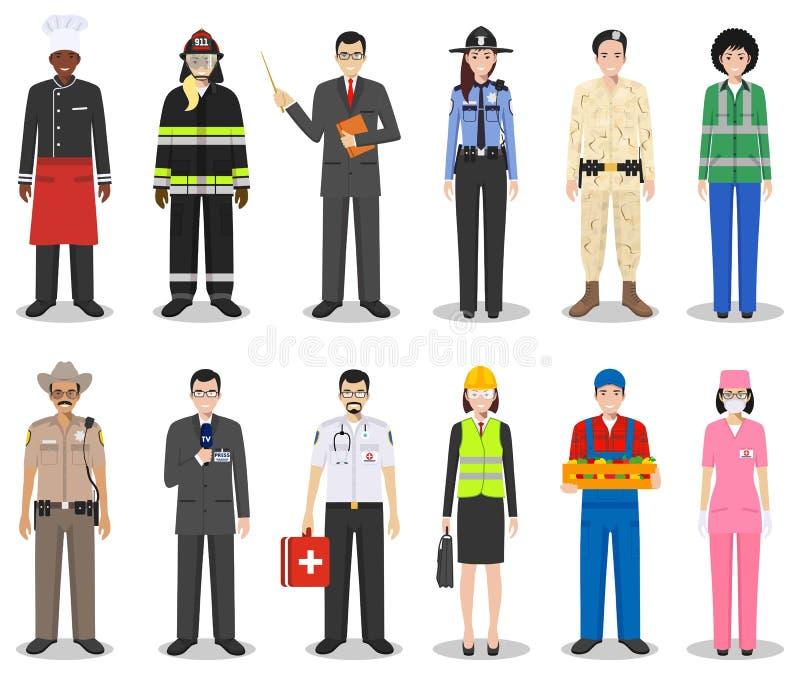 Les caractères de profession de personnes ont placé dans le style plat d'isolement sur le fond blanc Standi différent de caractèr illustration stock
