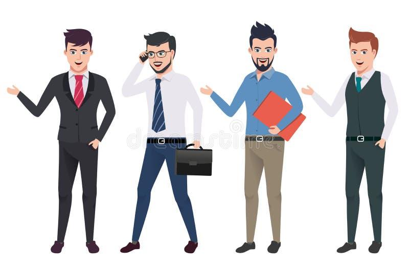 Les caractères de vecteur d'homme d'affaires ont placé avec la personne masculine professionnelle de bureau et de ventes illustration de vecteur