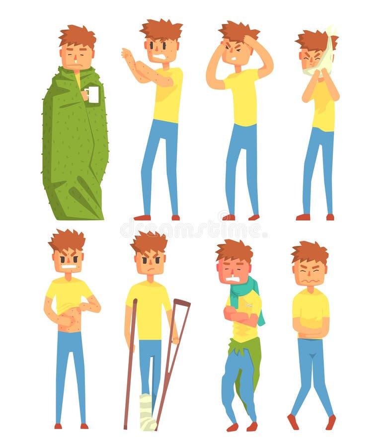 Les caractères en difficulté de jeune homme ont placé, type souffrant de différentes illustrations de vecteur de symptômes sur un illustration libre de droits