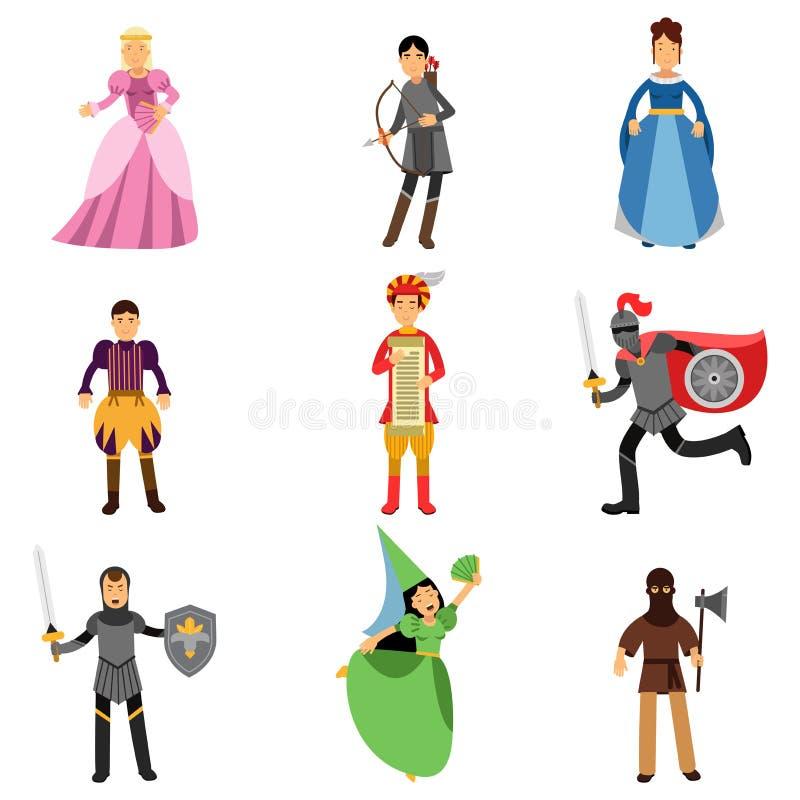 Les caractères médiévaux ont placé, les gens dans les costumes historiques des illustrations médiévales de l'Europe illustration de vecteur