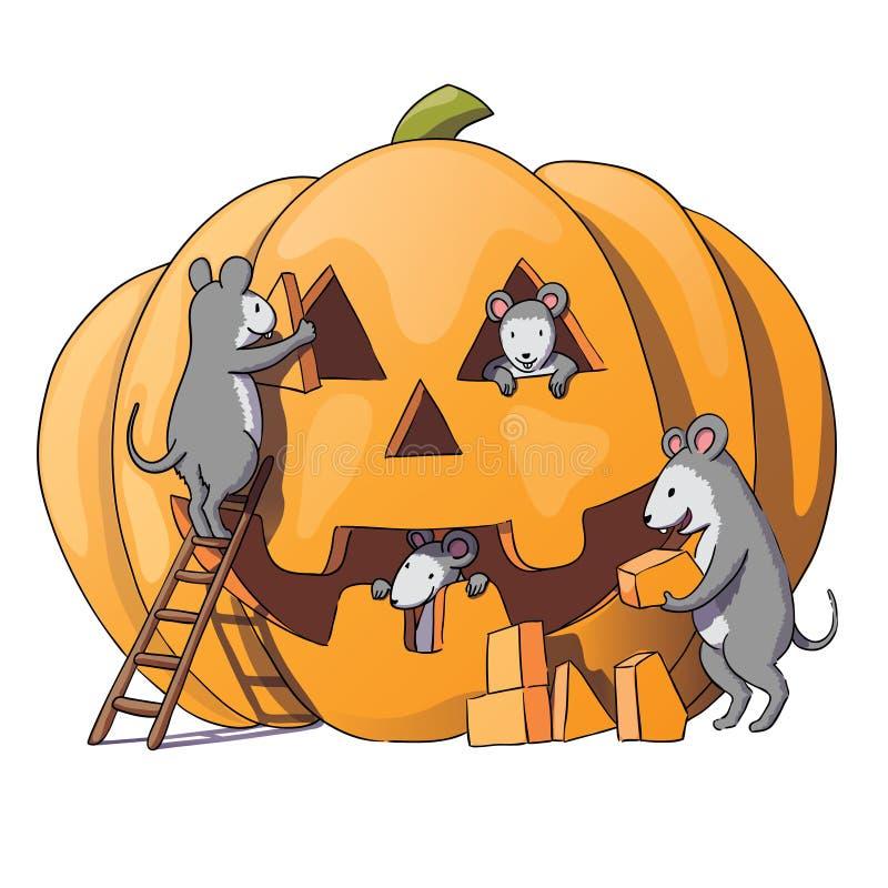 Les caractères mignons de souris se préparent à Halloween Souris grise astucieuse, rat Potiron D'isolement sur le fond blanc Illu illustration libre de droits