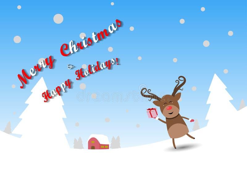 Les caractères réglés de Noël de renne de Joyeux Noël dirigent l'illustration image libre de droits