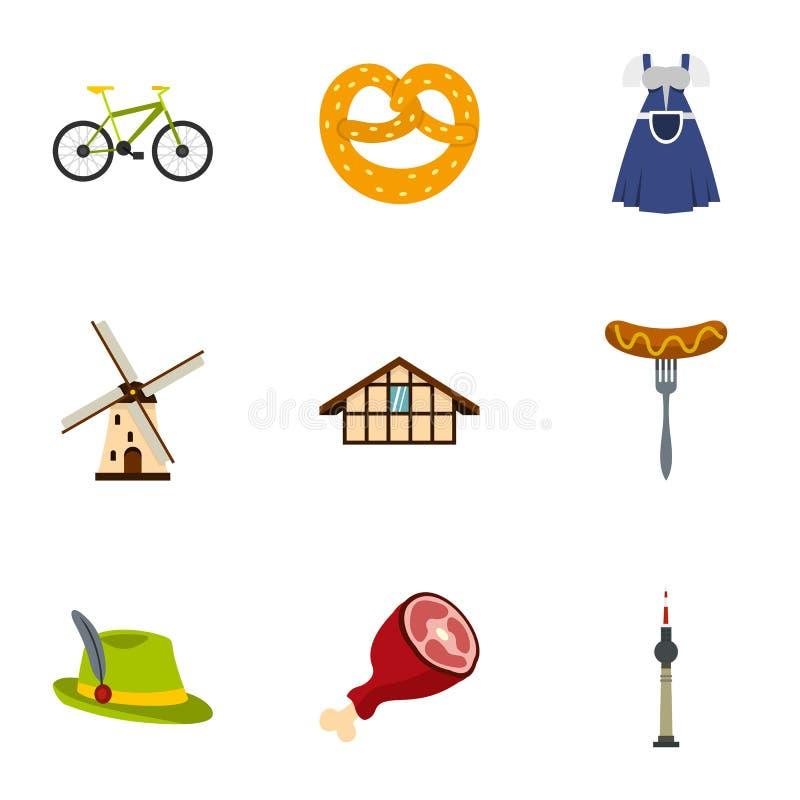 Les caractéristiques de culture des icônes de l'Allemagne ont placé, style plat illustration stock