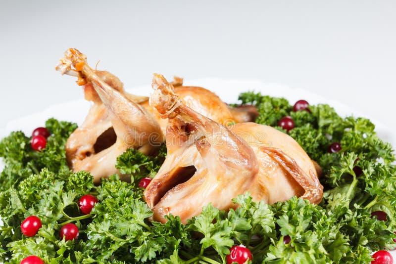 Les carcasses des cailles ont rôti avec la canneberge et le persil photographie stock