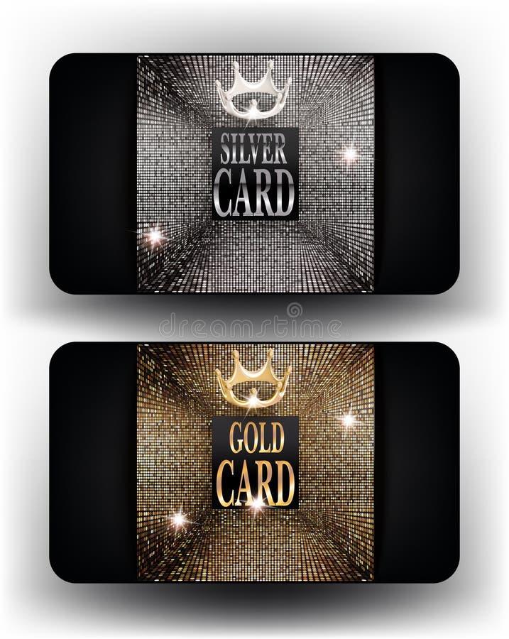 Les cartes d'argent et d'or avec de l'or abstrait conçoivent des éléments illustration libre de droits