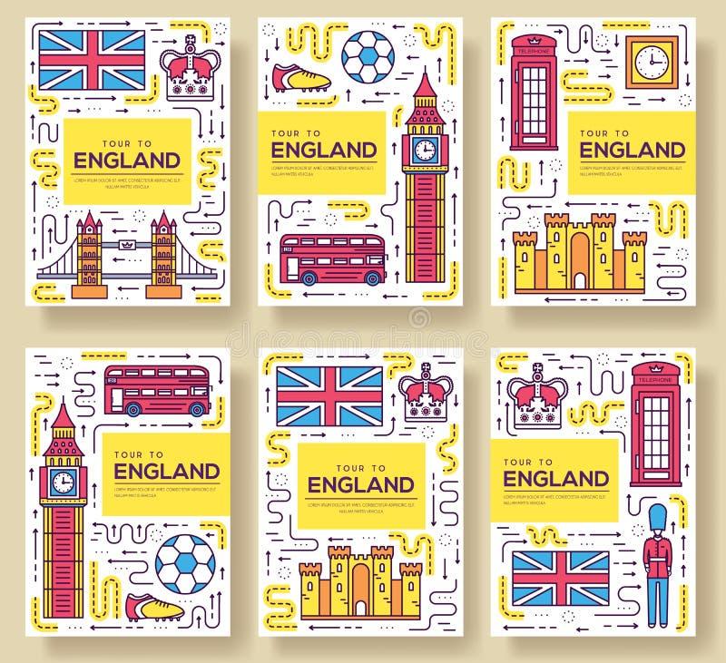 Les cartes de brochure de vecteur de l'Angleterre amincissent la ligne ensemble Calibre de voyage de pays de flyear, magazines, a illustration libre de droits