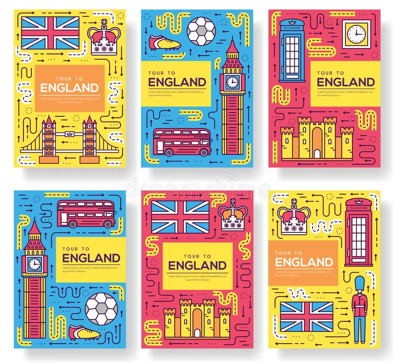Les cartes de brochure de vecteur de l'Angleterre amincissent la ligne ensemble Calibre de voyage de pays de flyear, magazines, a illustration stock
