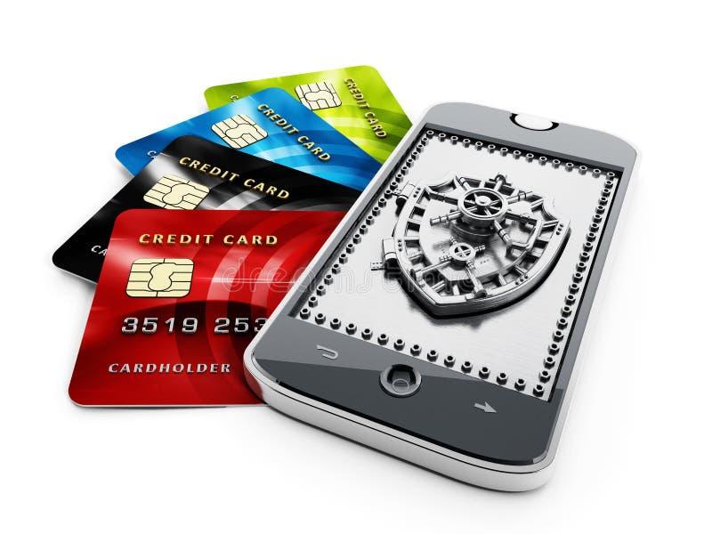 Les cartes de crédit et le bouclier formés ont sauté porte sur le smartphone illustration stock