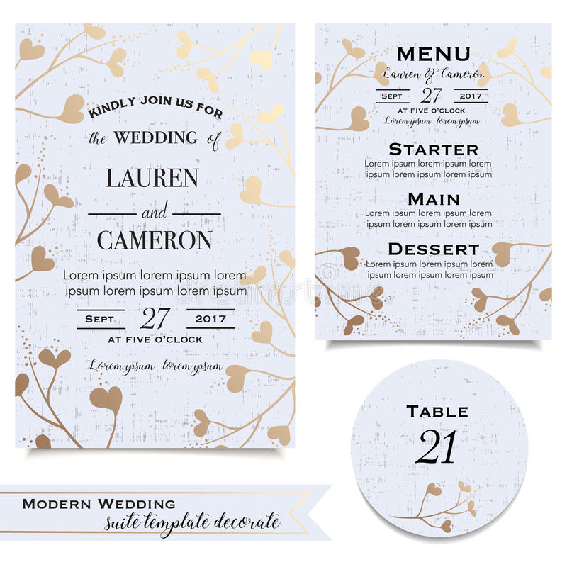 Les cartes de mariage bleues avec l'invitation, sauvent la carte de date, menu photos stock