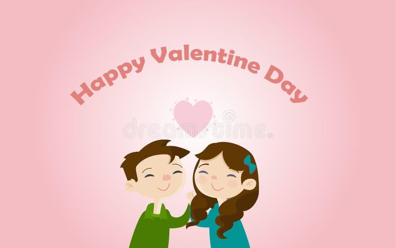 Les cartes de Saint-Valentin contiennent les coeurs et les amants qui donnent l'amour entre eux illustration de vecteur