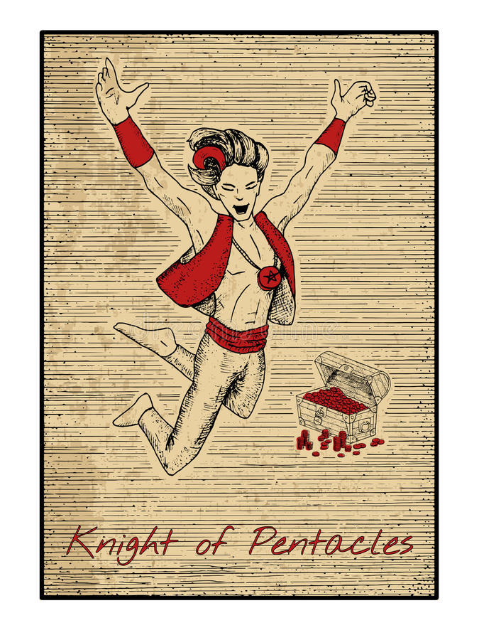 Les cartes de tarot en rouge Chevalier des pentagrammes illustration stock