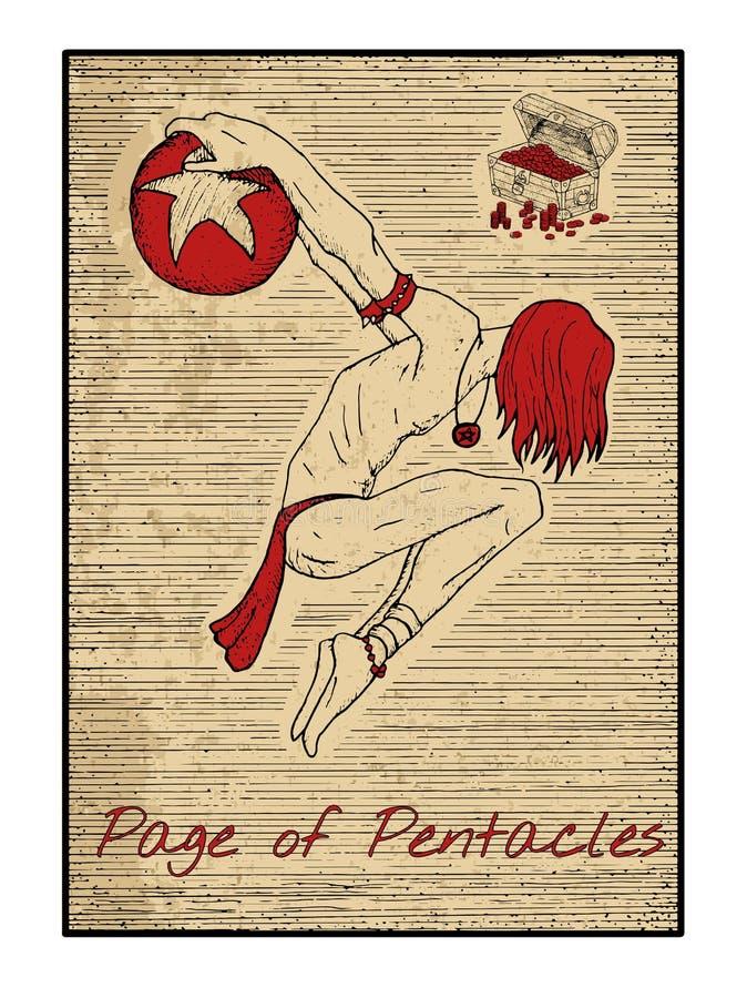Les cartes de tarot en rouge Page des pentagrammes illustration libre de droits