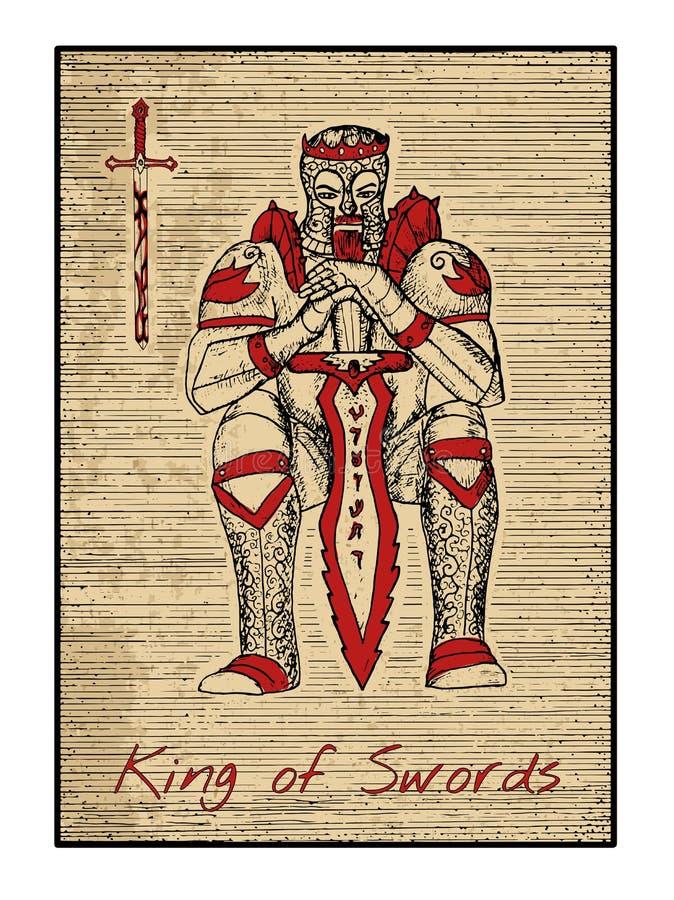 Les cartes de tarot en rouge Roi des épées illustration libre de droits