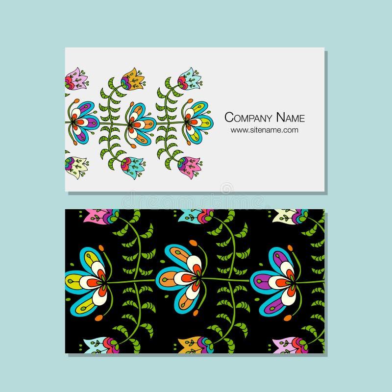 Les cartes de visite professionnelle de visite conçoivent, fond floral de style folklorique illustration libre de droits