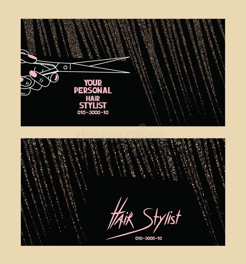 Les cartes de visite professionnelle de visite de coiffeur avec de l'or ont donné aux cheveux une consistance rugueuse abstraits illustration de vecteur