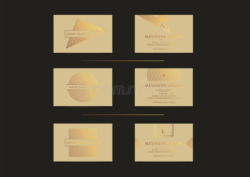 Les cartes de visite professionnelle de visite de luxe d'or beige ont placé pour l'événement de VIP Carte de voeux élégante avec  illustration libre de droits