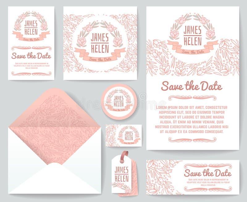 Les cartes de voeux d'invitation de mariage de vintage dirigent le calibre avec les éléments et les fleurs floraux rustiques tiré illustration libre de droits