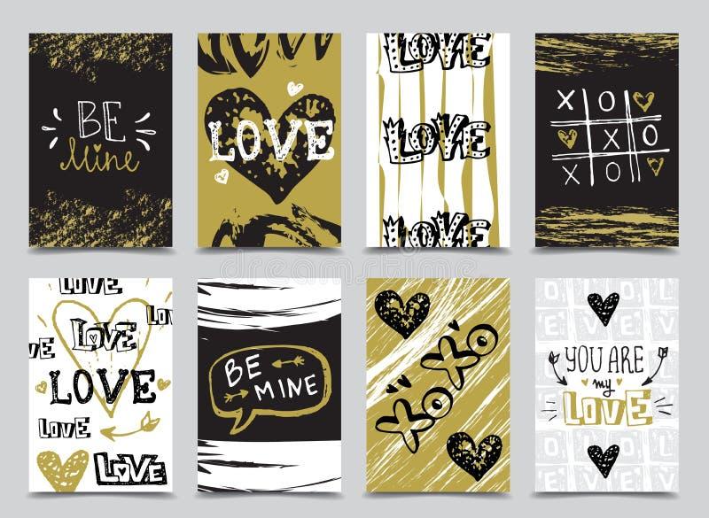 Les cartes de voeux tirées par la main de jour du ` s de St Valentine conçoit illustration de vecteur