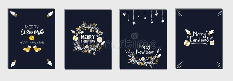 Les cartes en liasse de calibre du ` s de Noël et de nouvelle année empaquettent, vecteur bleu-foncé de fond de marine illustration de vecteur