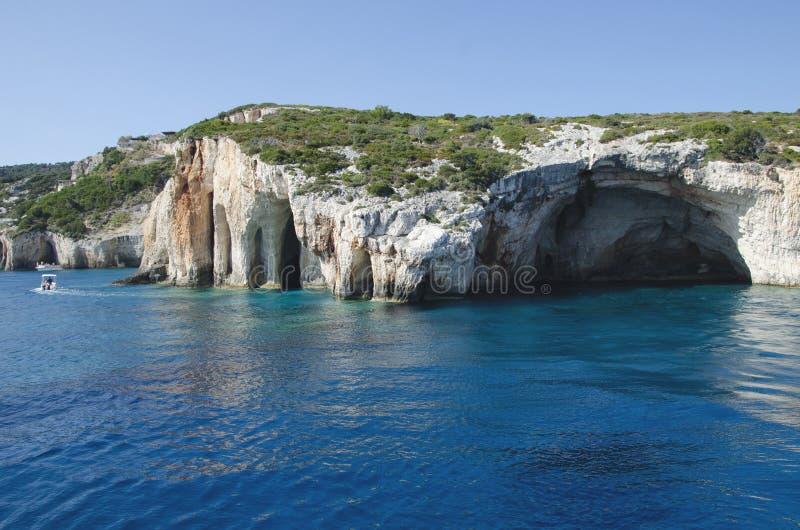 Les cavernes bleues célèbres en île de Zakynthos photos stock