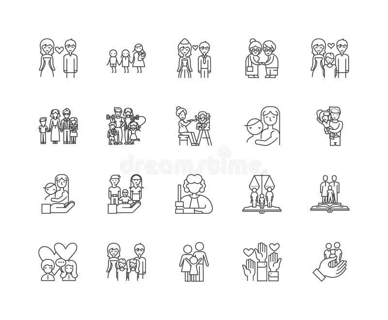Les centres de famille rayent des ic?nes, signes, ensemble de vecteur, concept d'illustration d'ensemble illustration libre de droits