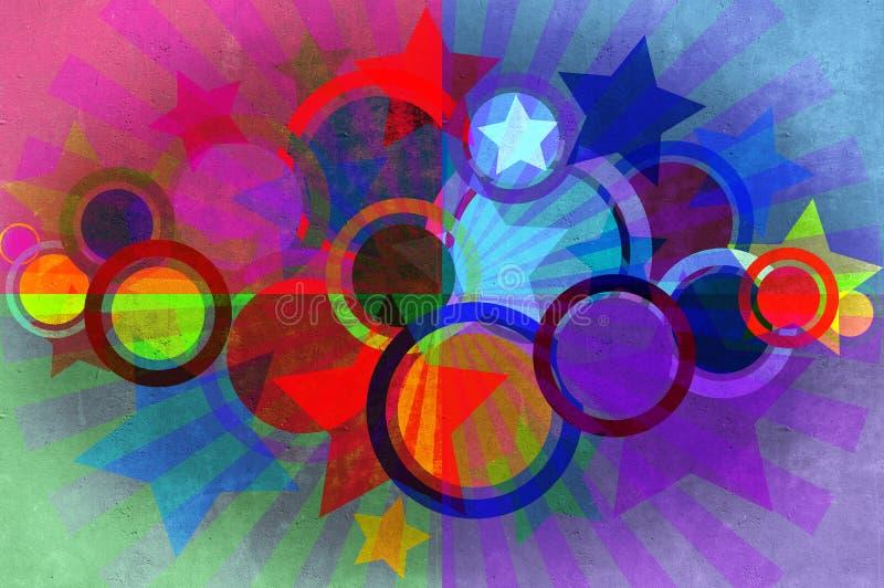 Les cercles, étoiles, rayonne le fond grunge. illustration stock