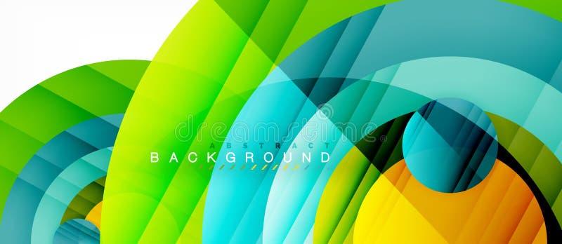 Les cercles colorés brillants soustraient le fond, dessin géométrique moderne illustration de vecteur