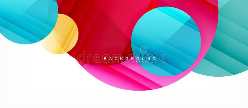 Les cercles colorés brillants soustraient le fond, dessin géométrique moderne illustration stock