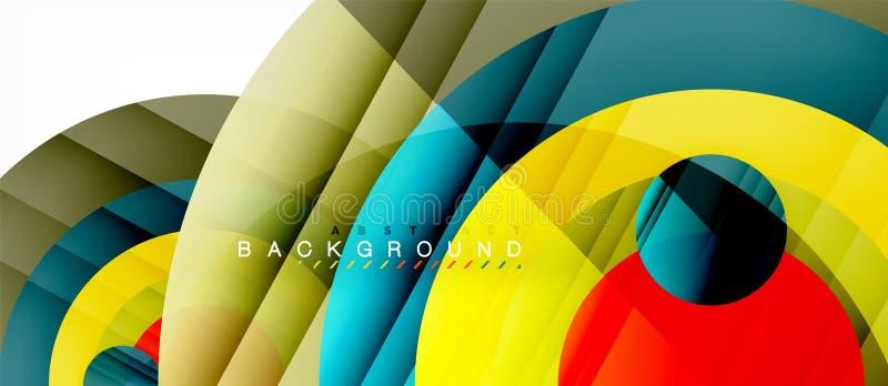 Les cercles colorés brillants soustraient le fond, dessin géométrique moderne illustration libre de droits
