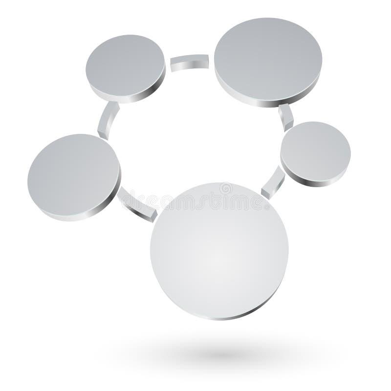 Cercles 3D métalliques abstraits illustration libre de droits