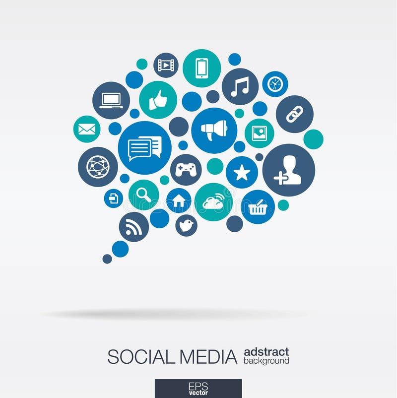 Les cercles de couleur, les icônes plates dans une bulle de la parole forment : technologie, media social, réseau, concept d'ordi illustration de vecteur