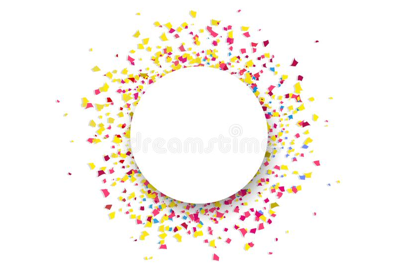 Les cercles de papier de partie de célébration d'explosion de dispersion de confettis sonnent illustration stock