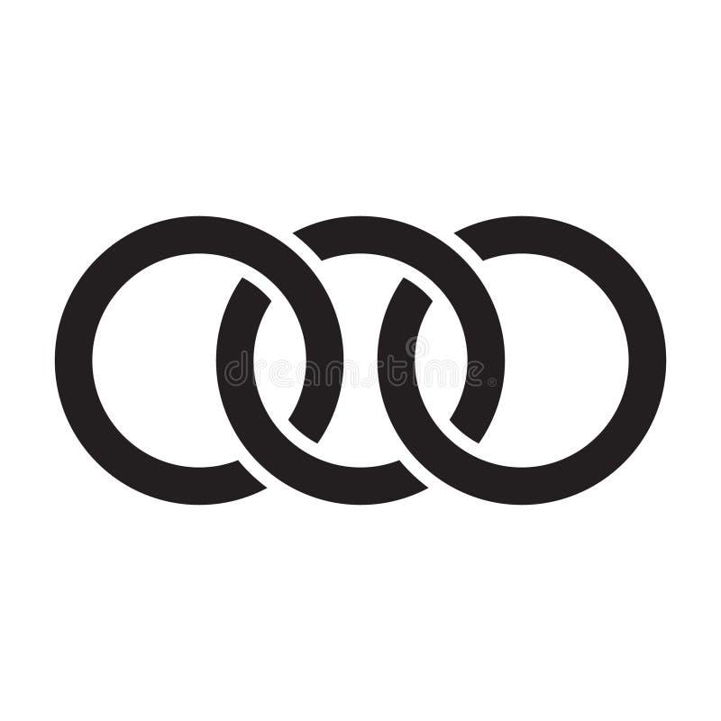 Les cercles de verrouillage, anneaux contournent Cercles, icône de concept d'anneaux illustration stock