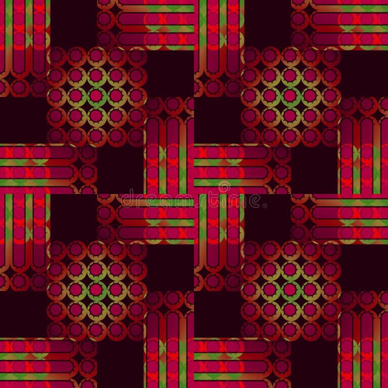 Les cercles et les rayures sans couture modèlent le vert violet rouge dans le brun foncé de places illustration de vecteur