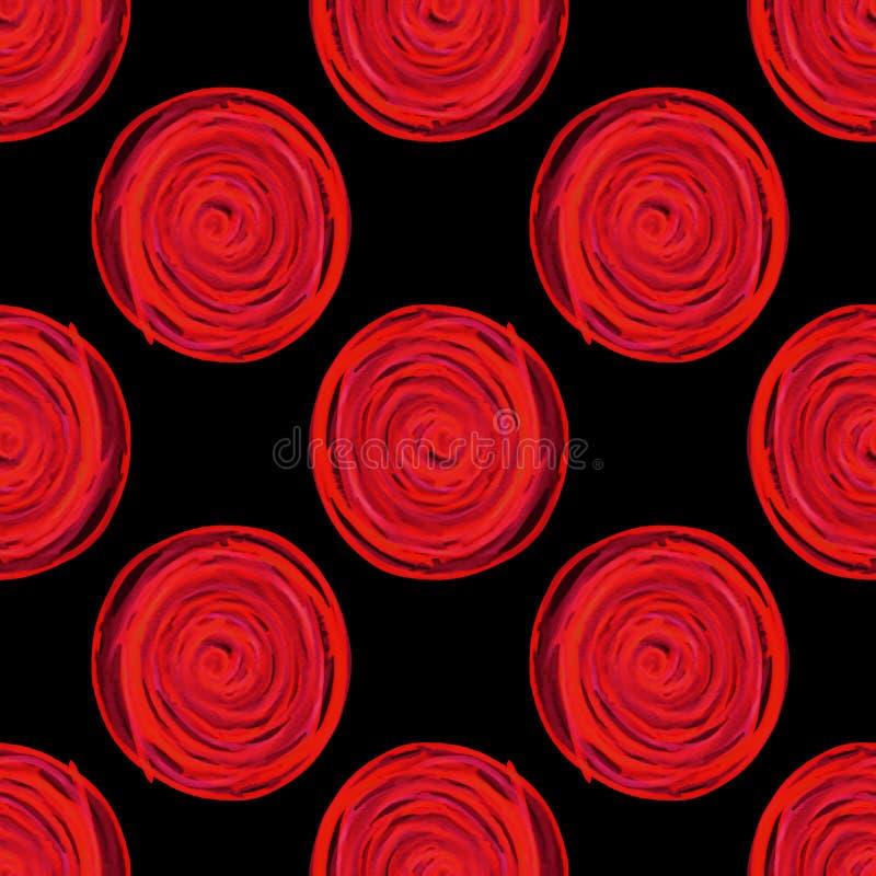 les cercles numériques se développent en spirales modèle sans couture rouge sur le fond noir illustration libre de droits