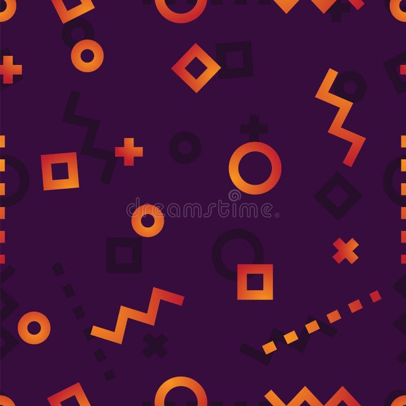 Les cercles, places, courbes, lignes tir?es et se connecte un mod?le fonc? de fond illustration stock