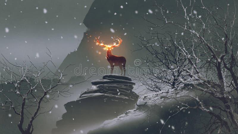 Les cerfs communs avec des klaxons du feu en hiver illustration de vecteur
