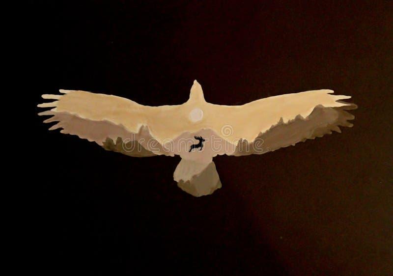 Les cerfs communs dans le vautour Illustration d'art illustration de vecteur