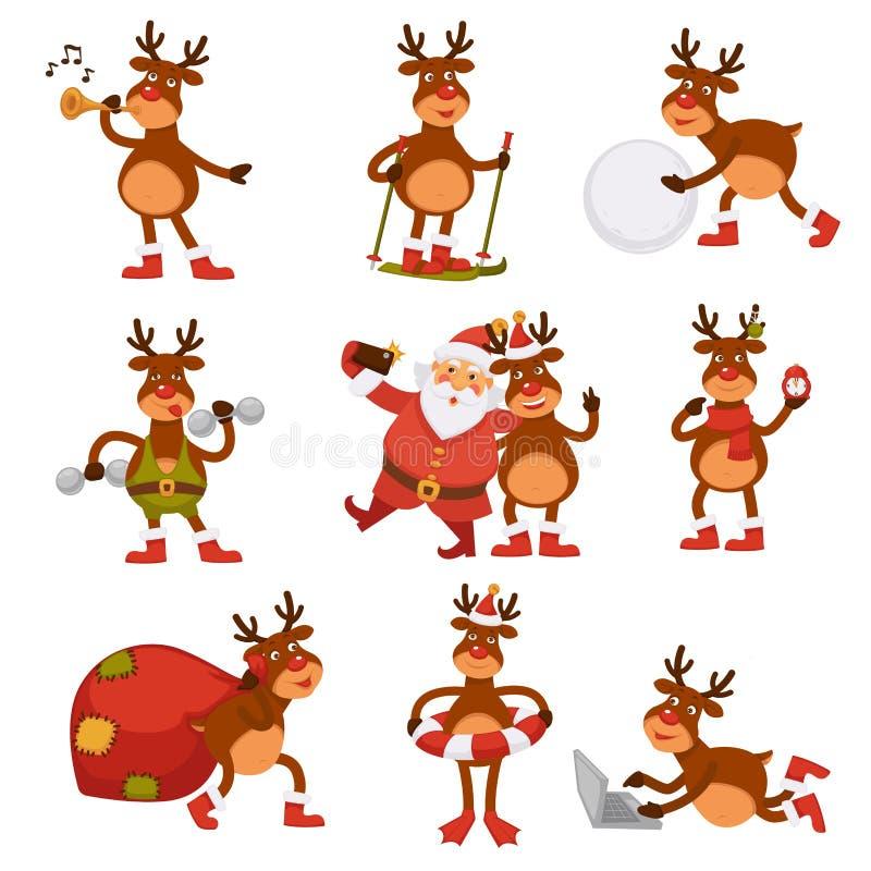 Les cerfs communs de Noël et les personnages de dessin animé de Santa dirigent la carte de voeux de vacances d'hiver d'icônes illustration stock