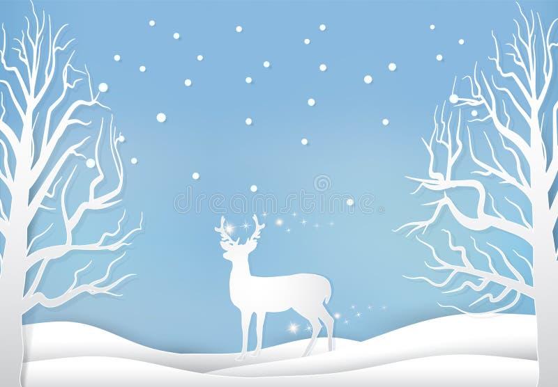 Les cerfs communs et le pin avec la neige empaquettent le style d'art, la saison b de Noël illustration libre de droits