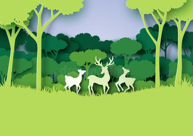 Les cerfs communs famille et la forêt de nature aménagent le style en parc de papier d'art illustration libre de droits