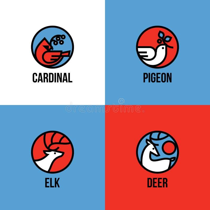 Les cerfs communs, les élans, l'oiseau cardinal et la colombe de la paix avec le houx s'embranchent illustration stock