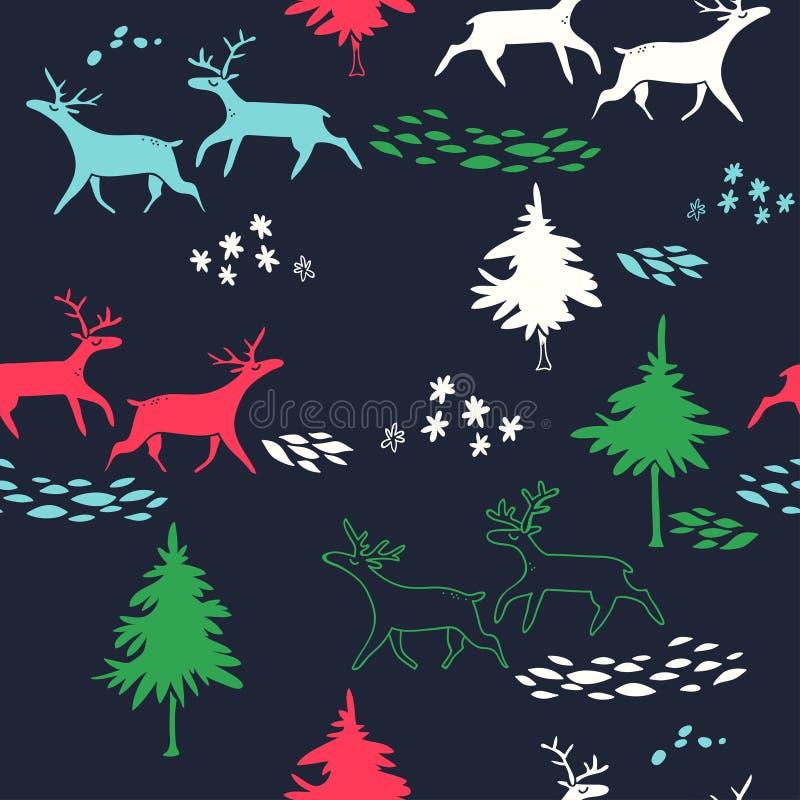 Les cerfs communs pendant année de forêt d'hiver la nouvelle dirigent le modèle sans couture avec des arbres et des animaux illustration stock