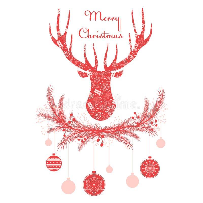Les cerfs communs se dirigent en guirlande avec des boules de décorations de Noël Illustration de vecteur de carte de voeux de Jo illustration libre de droits