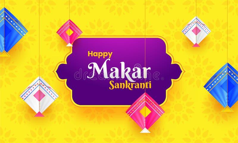 Les cerfs-volants colorés accrochent sur le fond jaune de fleur Makar heureux San illustration libre de droits