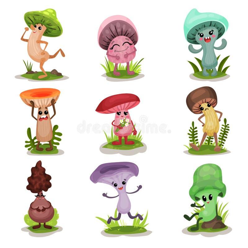 Les champignons drôles ont placé, les caractères colorés de mashroom avec le visage humain montrant de diverses illustrations de  illustration de vecteur
