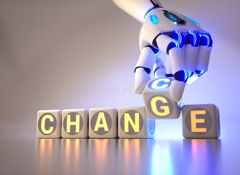 Les changements de main de robot de cyborg textotent le cube du changement à l'occasion - concept d'AI illustration stock