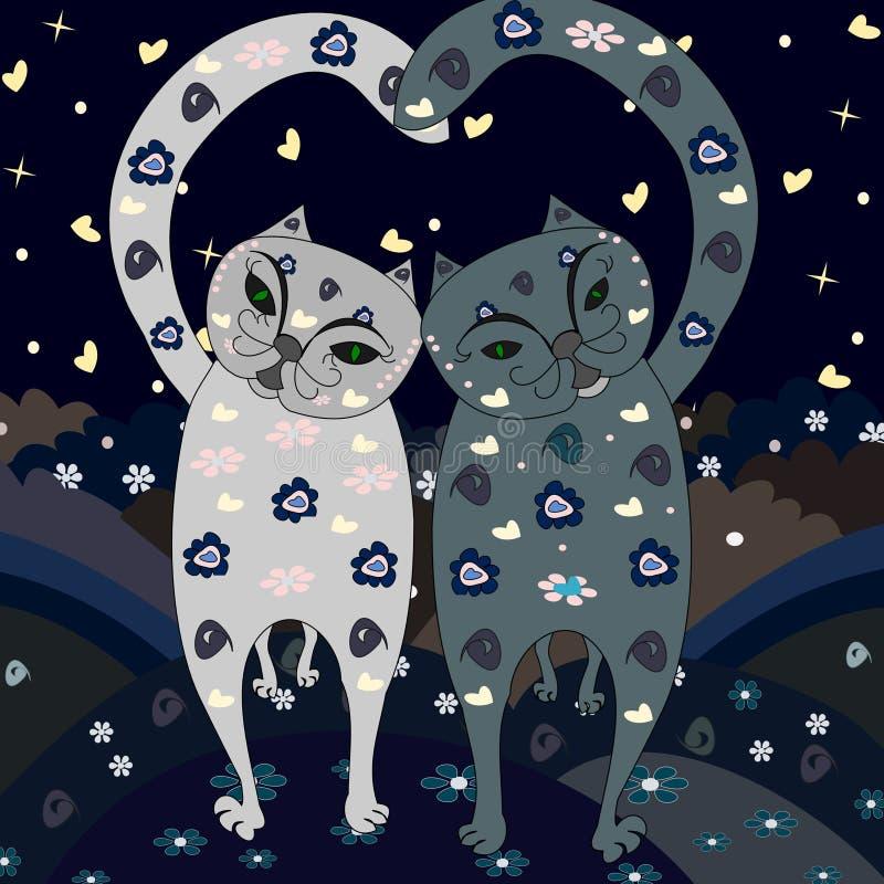 Les chats élégants d'amour vont illustration stock