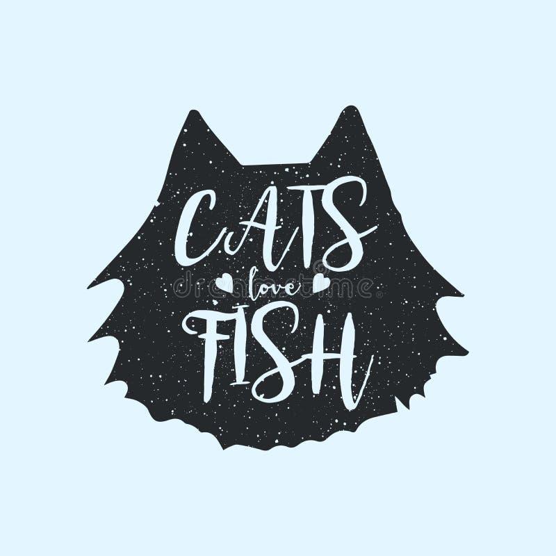 Les chats aiment des poissons mignons ou la conception d'impression de T-shirt d'amusement, concept avec la citation, inscription illustration stock