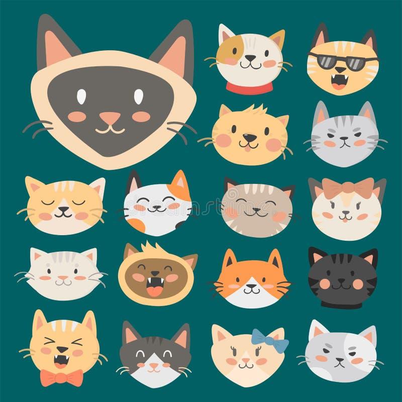 Les chats dirige l'animal familier à la mode domestique félin de caractères décoratifs drôles animaux mignons d'illustration de v illustration stock